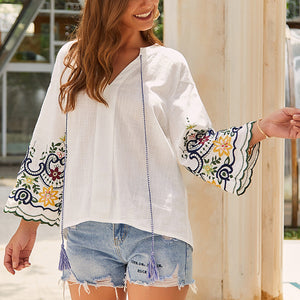 Embroidered V-neck Cotton And Linen Shirt T-shirt