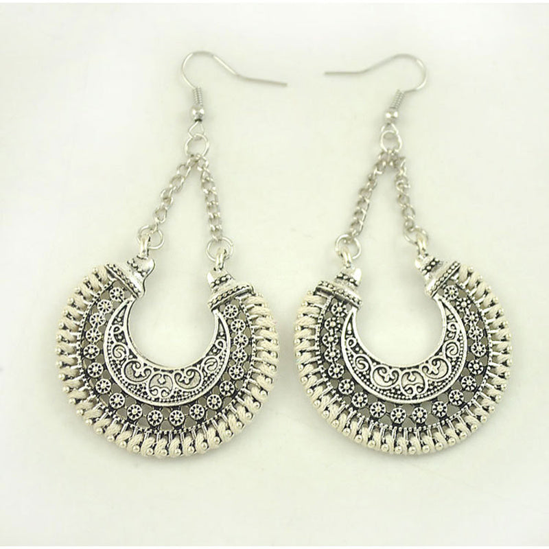 Metal Hollow Carved Meniscus Basket Earrings Hand-woven Rope U-shaped Earrings