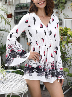 Printed V-neck Long-sleeved Casual Holiday Wind Beach Jumpsuit