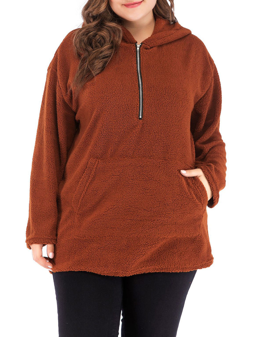 Long-sleeved Hooded Lamb Hair Large Size Sweater