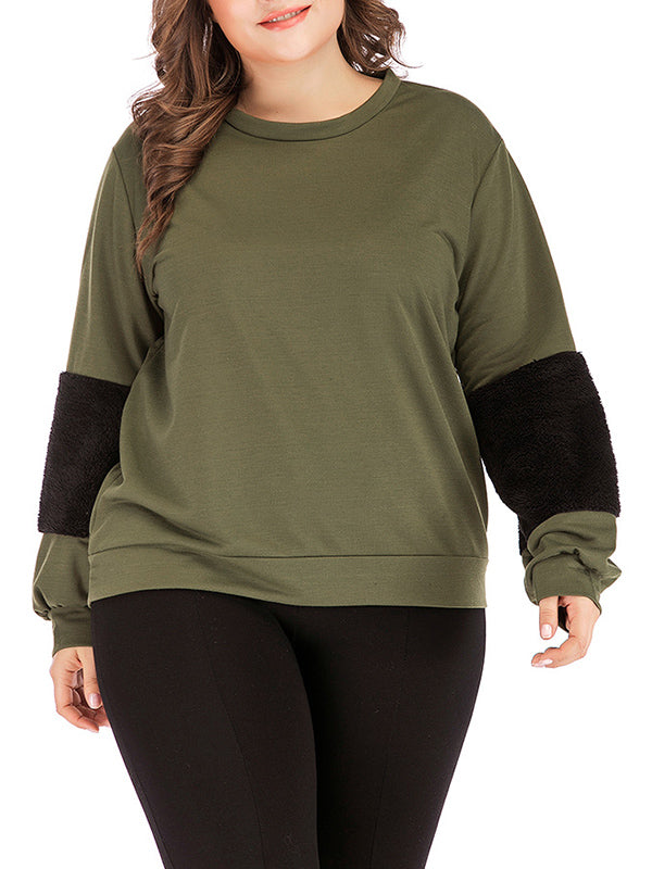 Splicing Long-sleeved T-shirt Round Neck Pullover Plus Size Top