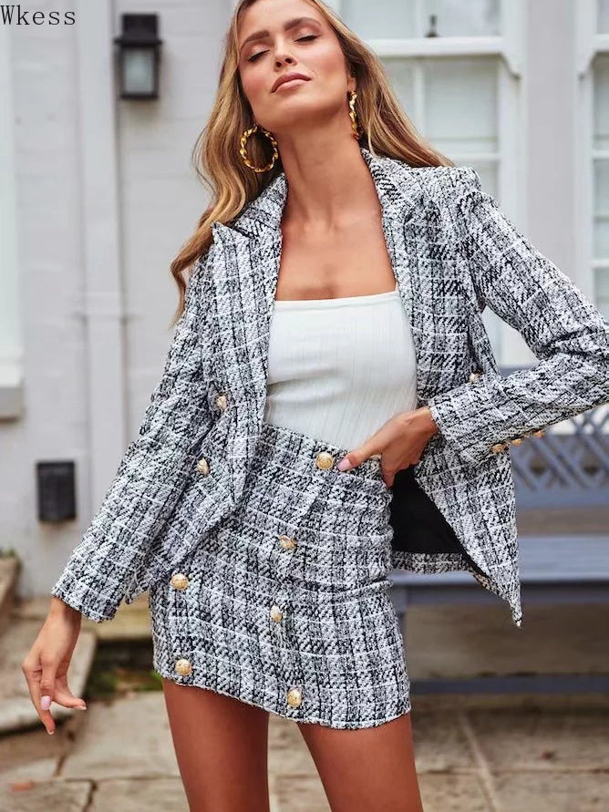 New Temperament Casual Plaid Suit (professional Suit Coat + Skirt)