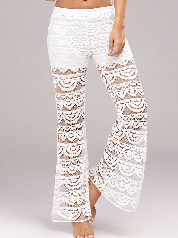 Solid Color Lace Stitching Casual Split Trousers