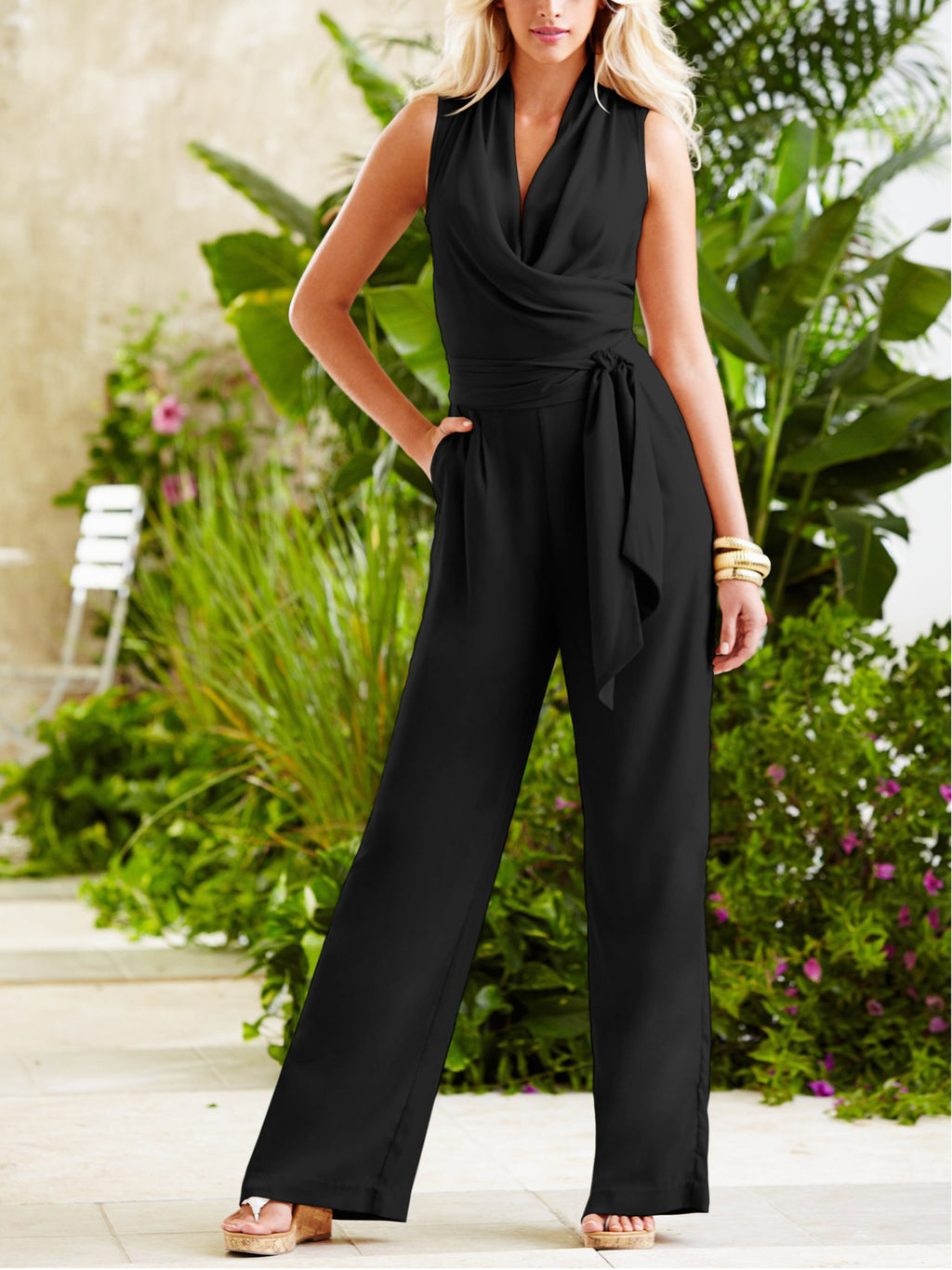 Black Loose Sleeveless Lace Jumpsuit