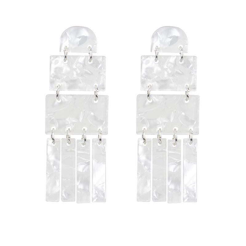 Exaggerated Acrylic Plate Geometric Earrings