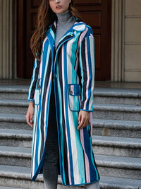 Personality Color Striped Long-sleeved Woolen Coat