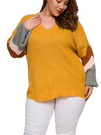 Long Sleeved Head V-neck Color Matching Fat MM Autumn and Winter Large Size Sweater