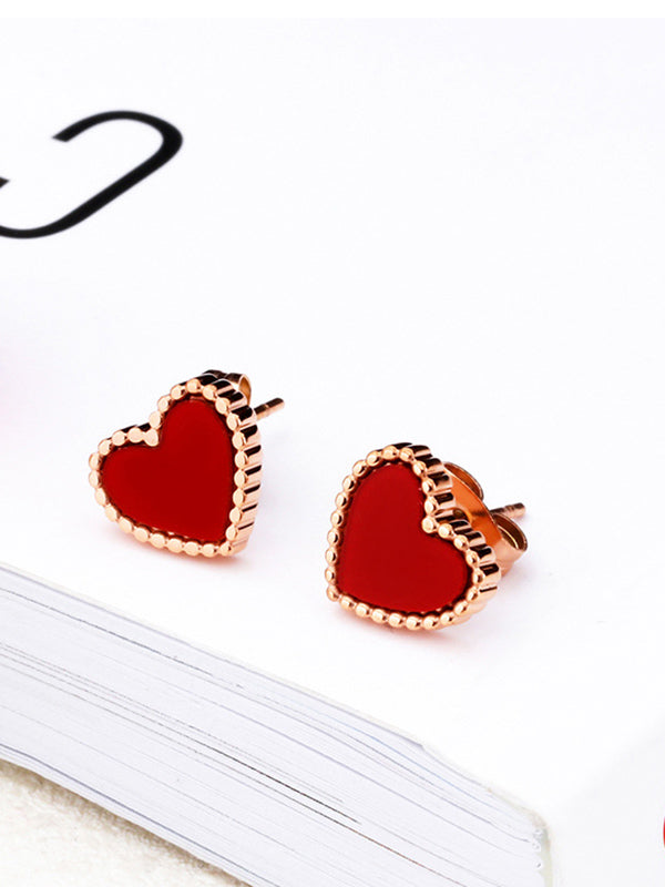 Love Peach Heart Earrings Temperament Earrings