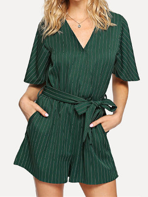 Sexy Deep V Slim Waist Short Sleeve Striped Jumpsuit