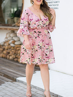 Speaker Seven-point Sleeve High Waist Loose Fashion Large Size Women's Printed Skirt