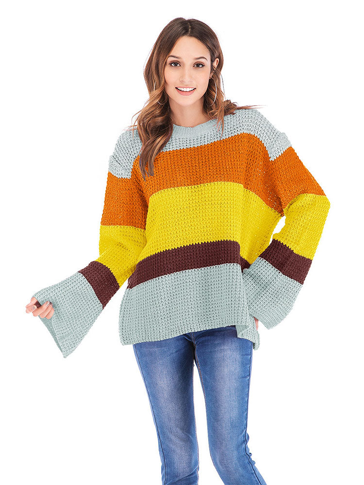 Three-color Stitching Long-sleeved Loose Pullover Sweater