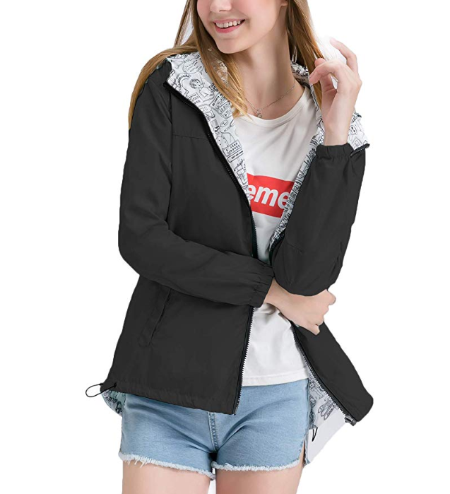 New Womens Windbreaker Hooded Jackets Lightweight Solid/Printed Reversible Windproof Coats Casual Outdoor Anoraks
