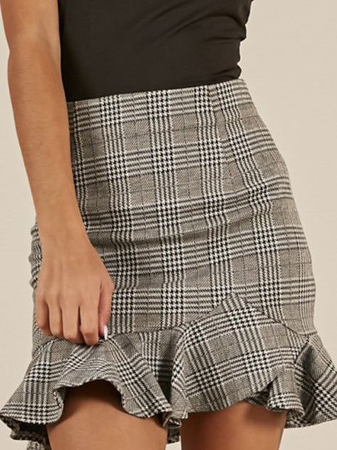 Plaid Fashion Versatile Lotus Leaf Skirt