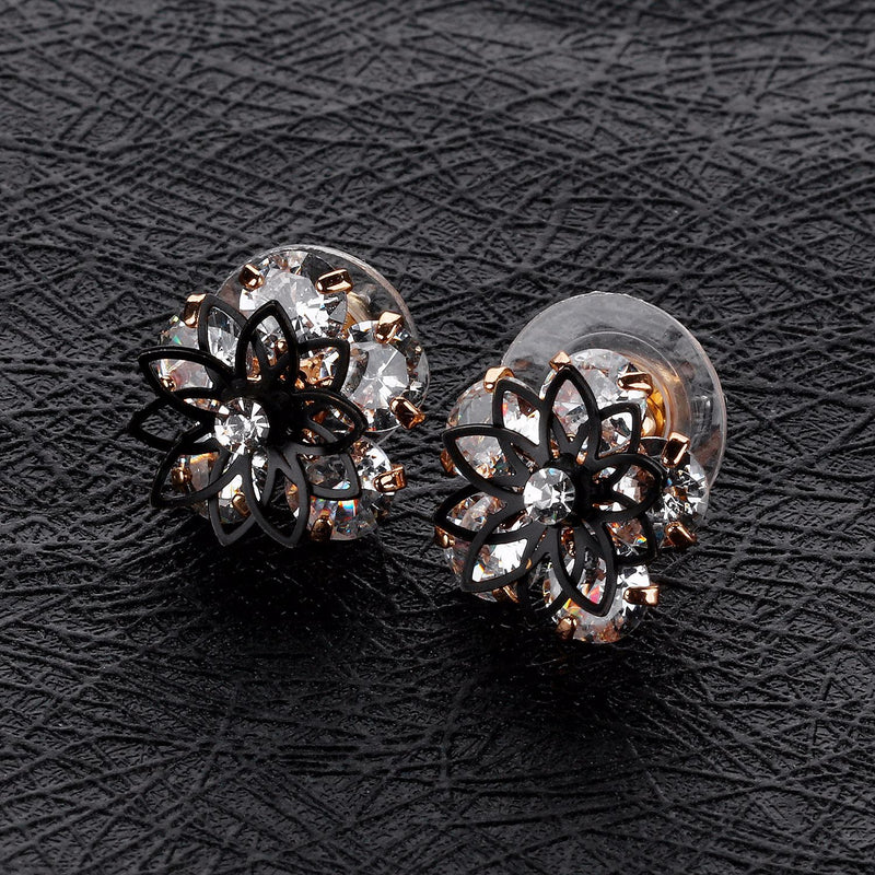 Double-layer Openwork Flowers Black Border Earrings Women Personality Wild Short Ear Jewelry