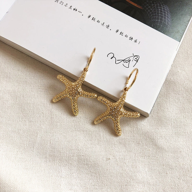 Starfish Shell Pearl Earrings Retro Earrings Trend Earrings