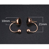 Circle Geometric Earrings Semi-circular U-shaped Hook Line Steel Ball Black Round Cake Earrings