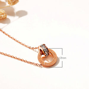 Titanium Steel Plated Rose Gold Double Ring Roman Digital Pendant Necklace Short Diamond Stud Collar Chain