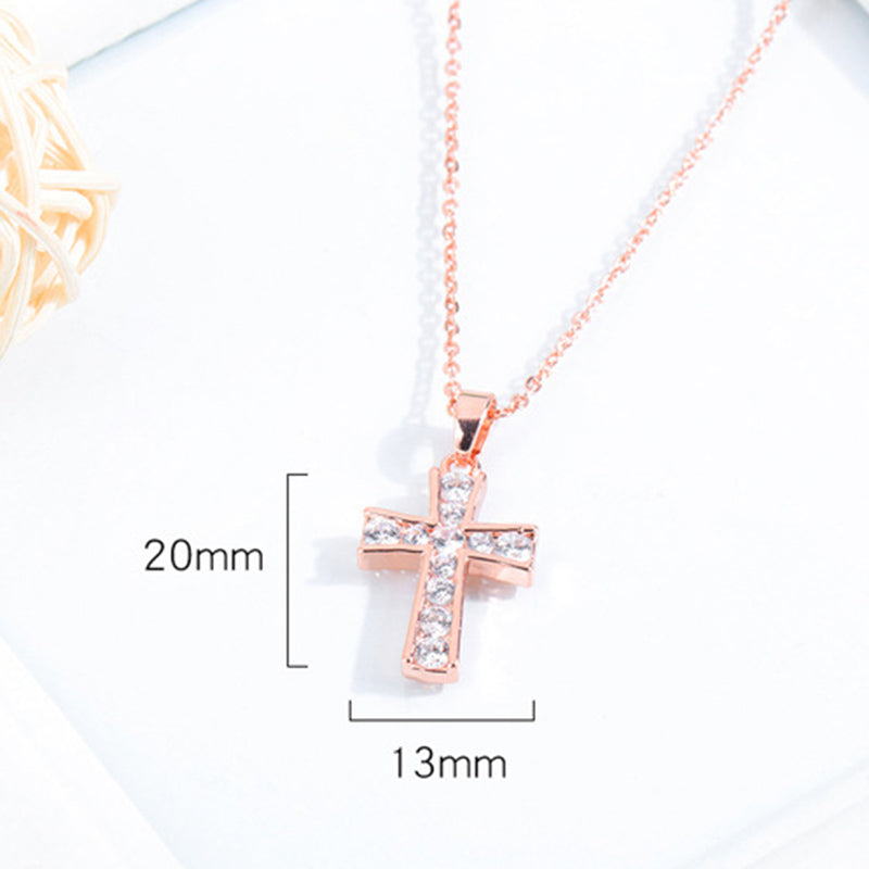 Copper Plated Gold Jewelry Women's Rose Gold And Diamond Cross Necklace