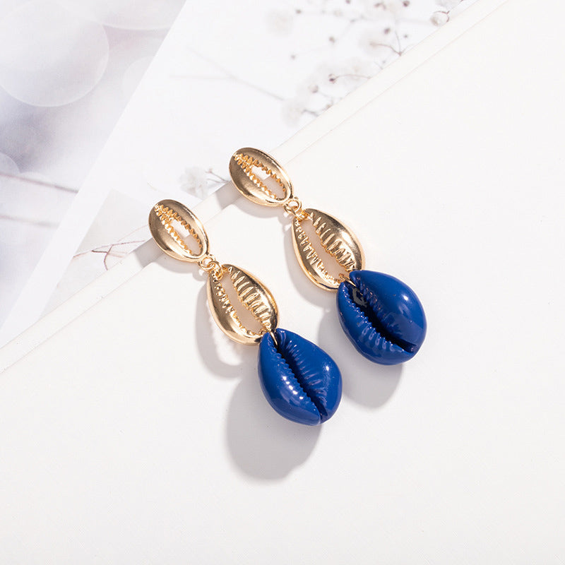 INS Accessories Natural Fashion Shell Earrings Geometric Tassel Earrings