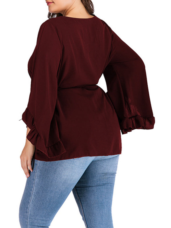 Round Neck Long Sleeve Solid Color Strap Trumpet Sleeve T-shirt Top