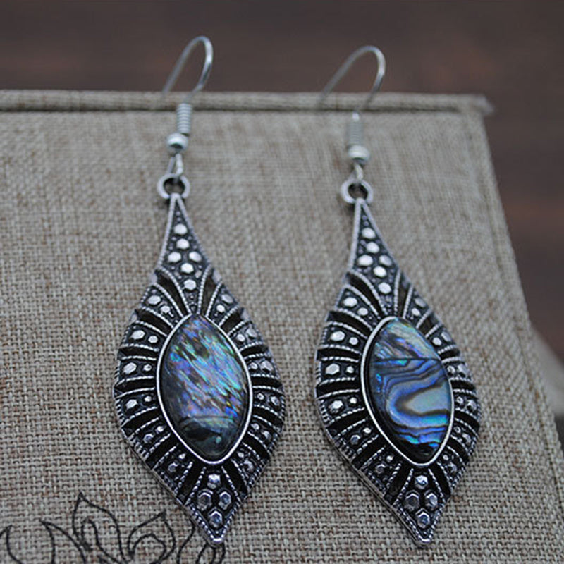 Horse Eye Gemstone Earrings Color Shell Earrings Retro Court Style