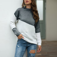 Irregular Sleeve Curling Half-high Collar Hit Color Pullover Sweater