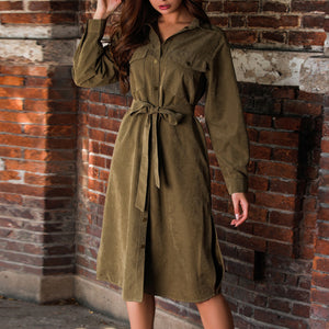 Long-sleeved Old-fashioned Lace-up Tooling Open-cut Dress