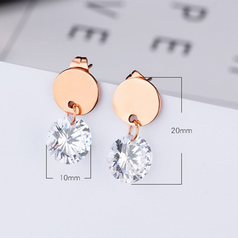 Titanium Steel Rose Gold Earrings Simple Geometric Metal Mini Round Diamond Ear Jewelry