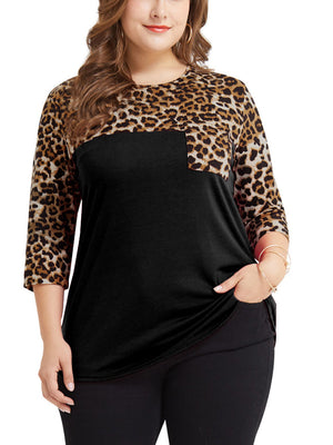 Plus Size Leopard Stitching Seven-point Sleeve Fat Mm Large Size Women's T-shirt