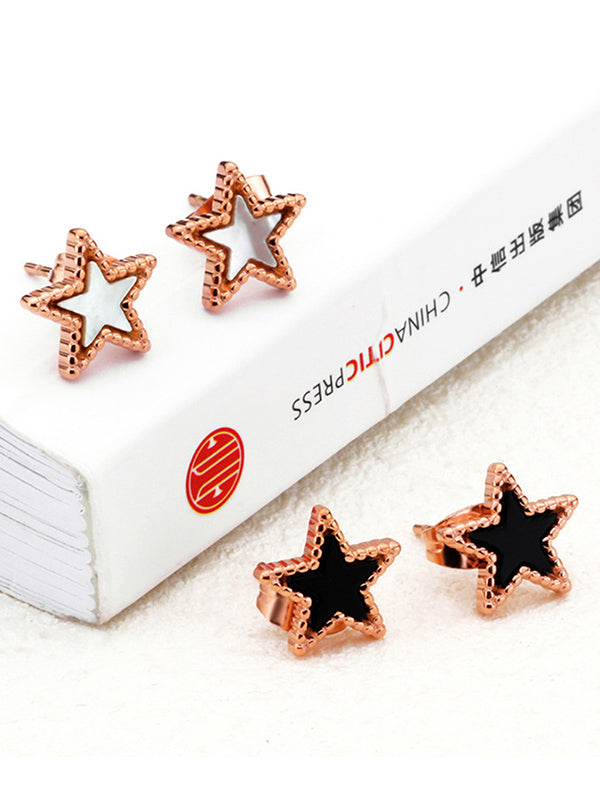 Simple Earrings Jewelry Temperament Five-pointed Star Earrings Colored Gold Earrings