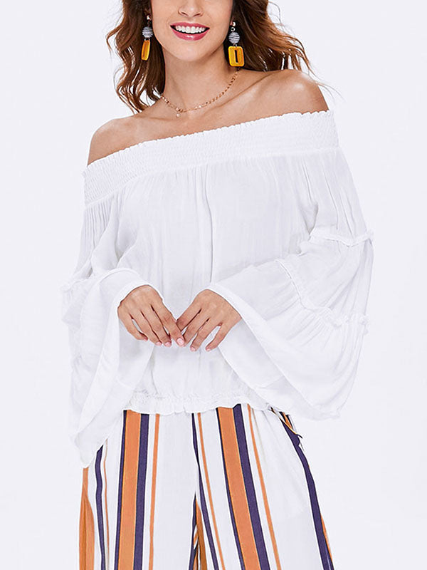 Tops Sexy Strapless Collar Long Sleeve Shirt Women