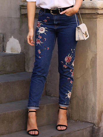Embroidered High-rise Slim Women's Denim Cropped Trousers