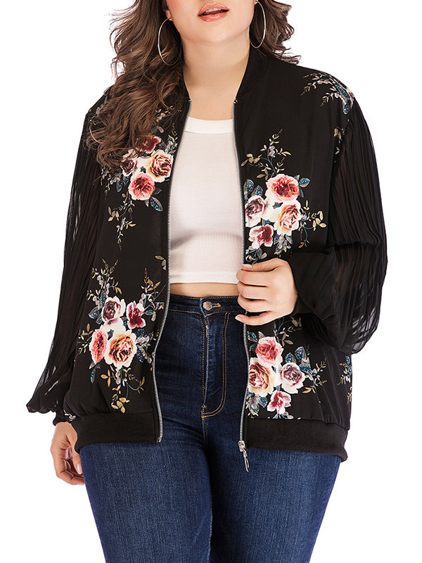 Plus Size Round Neck Long Sleeve Printed Zip Coat Jacket