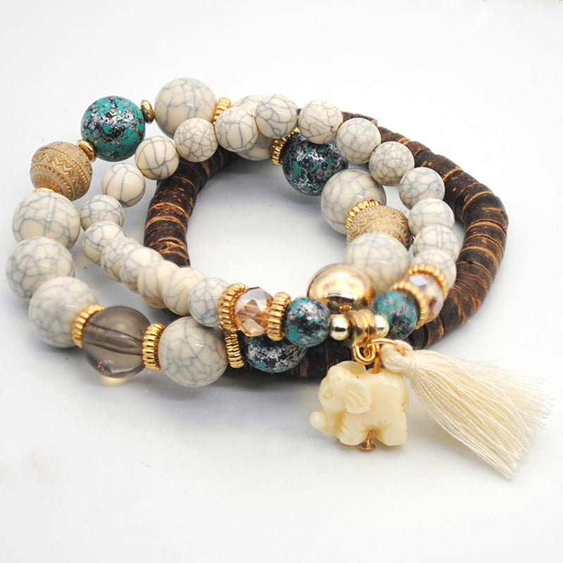 Fashion Elephant Pendant Multi-color Fringe Bracelet