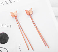 Vintage Geometric Frosted Double-layer Stereo Butterfly Earrings Titanium Steel Plated Rose Gold Tassel Earrings Tide Earrings