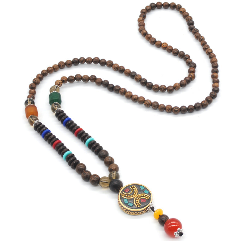 Ethnic Creative Handmade Long Sweater Chain Stone Pendant Accessories