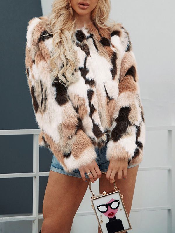 Autumn and Winter Mixed Color Faux Fur Coat