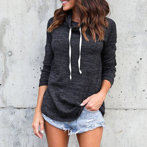 Long-sleeved High-necked Retractable Rope Casual Tops