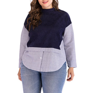 Plus Size Round Neck Striped Stitching Contrast Long-sleeved T-shirt