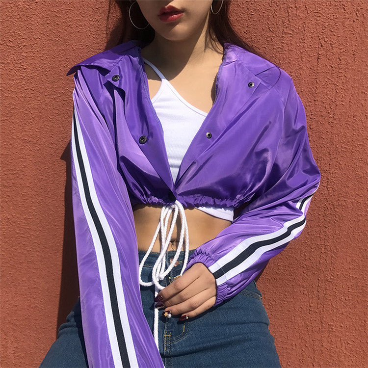 Fashion Lapel Short Cropped Drawstring Casual Long Sleeve Cardigan Jacket