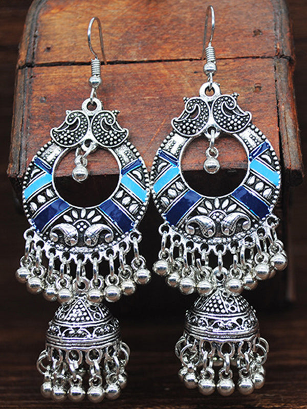 Color Bohemian Vintage Earrings Bells Tassels Earrings