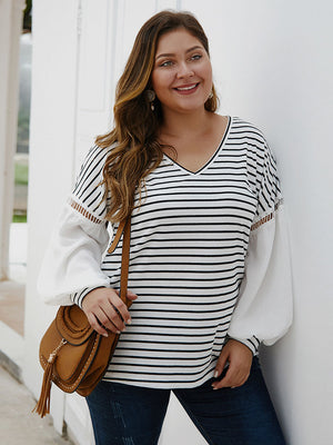 Fashion Large Size Women's Striped Stitching Shirt V-neck Sexy Clothes