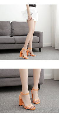 Explosion Classic Word with Open Toe Transparent Thick High Heel Sandals Large Size Orange