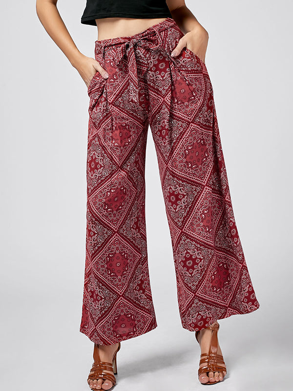 High Waist Loose Ethnic Style Casual Trousers