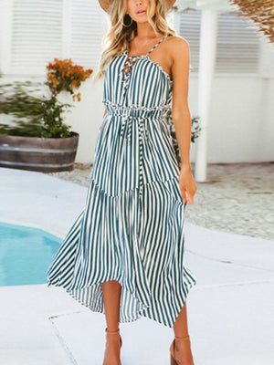Off-the-shoulder Strap Bohemian Chiffon Holiday Dress