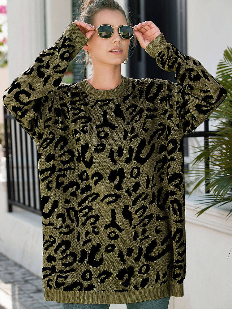 Large Size Women's Fat MM Round Neck Leopard Loose Sweater