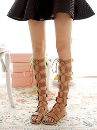 Sexy Hollow Rome Net Boots Cross Straps High Tube Flat with Cool Boots Breathable Sandals Spring and Summer