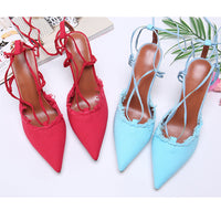 Pointed-toe Color-blocked Ankle Straps With High-heeled Sandals