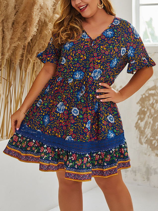 Summer Print Elegant Large Size Dress