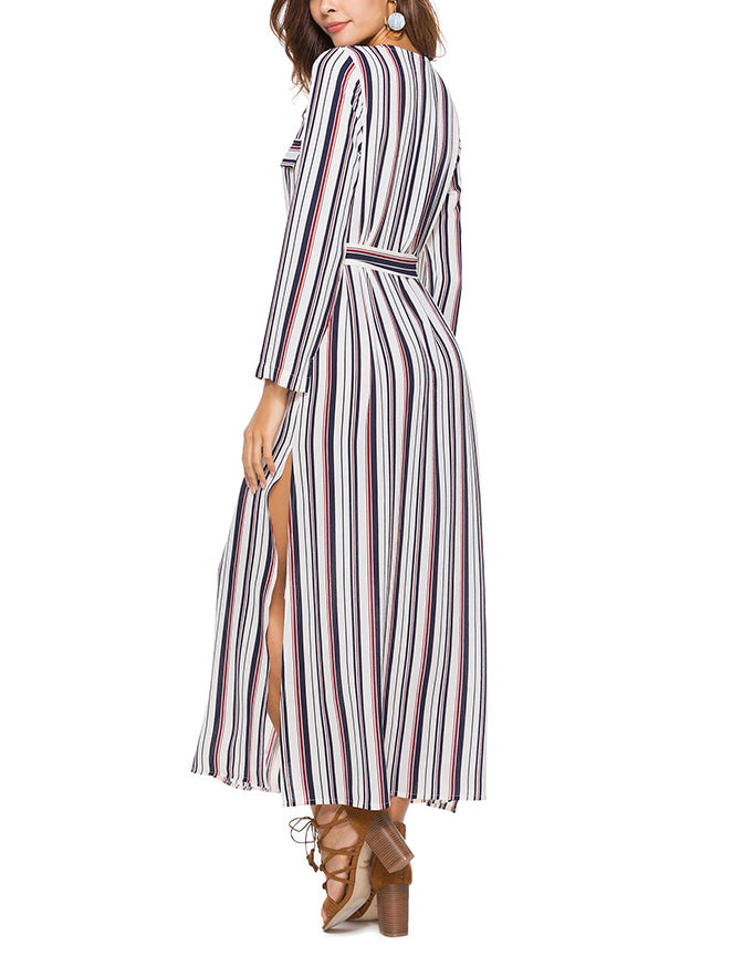 Long Sleeve Shirt Dress Striped Split Long Dress